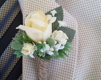 pale yellow boutonniere banana yellow boutonniere yellow wedding yellow rose boutonniere - Garden Rose Boutonniere