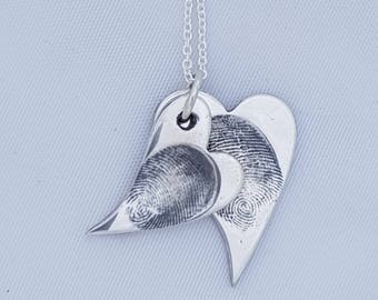 Double Fingerprint Wavy Heart Pendant Fingerprint Necklace Keepsake Pure Silver Hearts