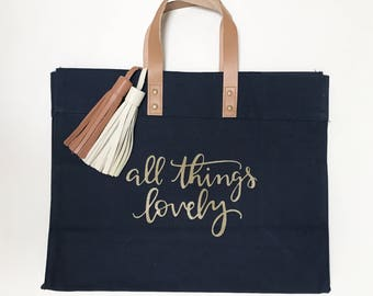 All Things Lovely/ Big canvas tote / Canvas big tote / Daily womens bag / Everyday canvas bag / cotton womens bag / womens everyday bag / ca