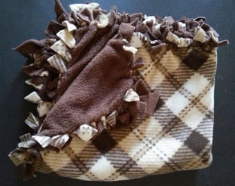 Tan Plaid Pattern Hand-Tied Pet Blankets (small)