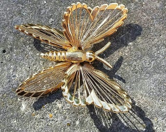 Vintage Monet gold plated butterfly brooch