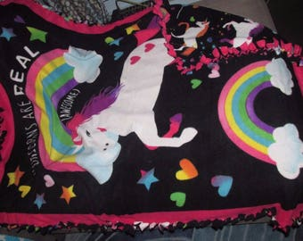 """Unicorns 45 """" x 59"""" Fleece Tie Blanket Hand Made Baby Toddler Child Great For Baby Shower Bedding Crib Car Seat or Stroller Blue Yellow"""