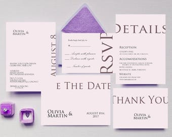 Wedding Invitation printable minimal wedding invitation minimal pink wedding invitation save the date detail rsvp thank you custom