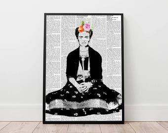 Frida Kahlo print, Frida Kahlo art, Frida poster, modern contemporary wall art, newspaper poster, Frida Kahlo portrait wall minimal decor