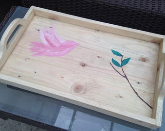 handmade and hand painted serving tray made from reclaimed wood, afternoon tea