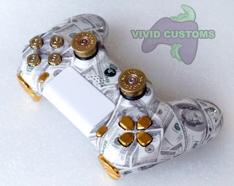 Custom PS4 Controller - Modded Sony PlayStation 4 Pro/Slim Version 2 Dualshock Wireless Pad - 100 Dollar Bills - Cash Money Bullet Mod V2