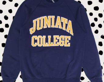 Vintage 90s USA Sweatshirt - Juniata College Navy Jumper Sweater Top