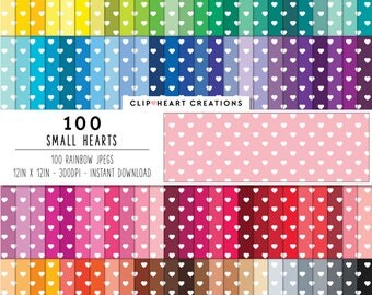 100 white hearts paper, Digital paper, Commercial use, heart polka dots, polka dot pattern, digital scrapbooking paper, valentines day
