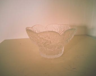 Swedish Tree Design Glass Tea Light Holder - Vintage Swedish