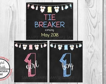 Tie Breaker Pregnancy Announcement Sign, Pregnancy Reveal, Printable, Pink or Blue, Instant Download, Chalkboard Sign, due May 2018