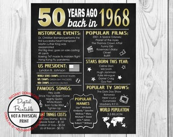 1968 The Year You Were Born, 50th Birthday Poster Sign, Back in 1968 Chalkboard Style Poster, Printable, 1968 Facts, 50 years ago, Gold