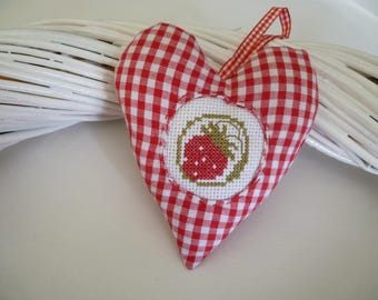 Heart door cushion in red gingham and embroidered Strawberry - heart - hanging heart - ornamental heart cross stitch fabric