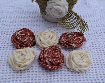 Fabric roses white and Red - made fabric rose hand - set of six shabby roses - material for creation.