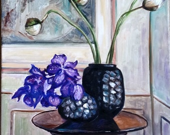"Original Oil painting, Purple, White Flowers- Still Life, 28""x22"", 1803153"