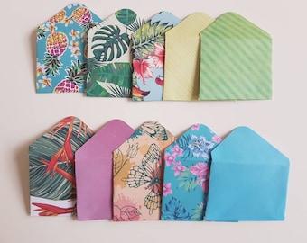 Set of 10 Mini Envelopes    Scrapbook envelopes    Gift Envelopes    Tiny envelopes    Money Envelopes    Tropical Envelopes