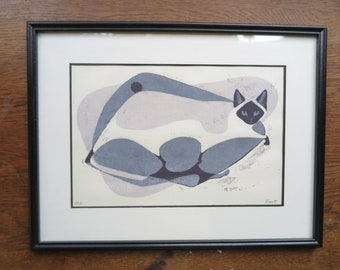 Framed Vintage Original Siamese Cat Print. Signed Root 1971. Mid Century Modern Retro. Graphic Black, White, Gray. Cats Rule, Dogs Drool.