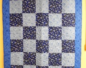 """Lap Quilt, Throw Quilt, Handmade Lap Quilt, Blue Floral Lap Quilt, 48"""" x 64"""""""