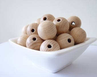 Natural 18 mm unfinished beech wooden beads/ teething beads/ natural organic beads/ toy jewelry supplies