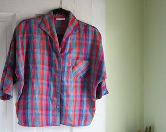 Size XL Vintage Blouse 1960s Button Up Multicolor Pattern Tried & True