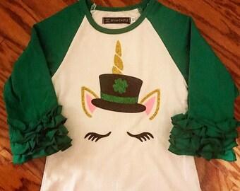 Glitter St. Partrick's Day unicorn ruffle raglan. Baby, toddler and big girl St. Patty Day parade shirt.