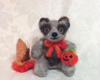 "Mohair Teddy Bear with Jack-O-Lantern, Halloween Art Doll, Autumn Decor, Needle Felted Wool by Elsa Jo Ellison, 4.5"""