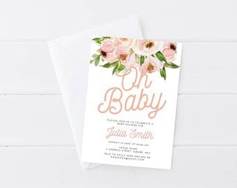Peony Baby Shower Invitation | Floral Baby Shower Invitation | Baby Shower Invitation Girl | Printable