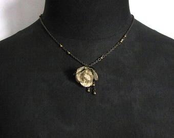 cream paper rose necklace