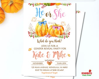 Pumpkin Gender Reveal Invitation. Pumpkin Baby Shower Invitations. Fall Gender Reveal Invitation. Little Pumpkin. Digital Printable. C38