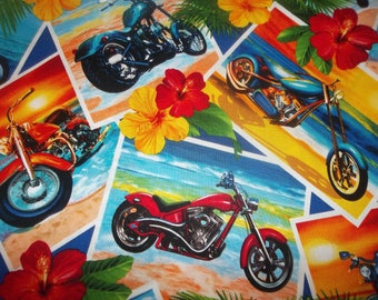 Motorcycle King 100% Cotton Fabric Panel #104