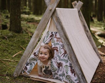 Play A-Frame Tent Dear and Tree Distressed Woodland Rustic