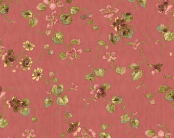 By the HALF YARD - Isabella by Erin Studios of Penny Rose Fabrics for Riley Blake, Pattern #C4691 Floral on Coral, Reproduction Print