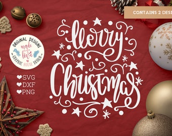 Merry and Bright SVG, Merry Christmas SVG, Handlettered Christmas Cut File in SVG, dxf, png, Handlettered Christmas Printable, Merry Bright