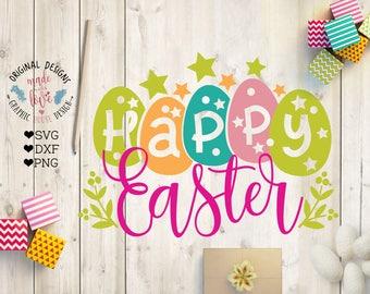 Happy Easter svg, Happy Easter Cut File in SVG, DXF, PNG, Easter eggs svg, Celebrations svg, Happy Easter dxf, Easter printable, Easter svg