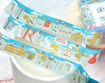 Paris Wide Washi Tape 20mm/ Eiffel Tower Washi Tape/ Paris Travel Attractions Washi Tape/ Vacation Washi Tape