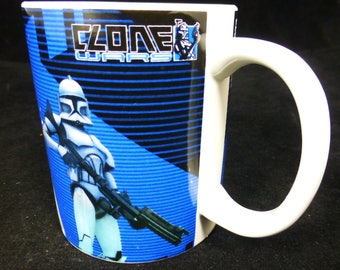 Star Wars Clone Wars blue and black ceramic coffee / tea / Mug – Lucasfilms 2008 - Vintage and Collectible