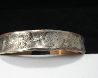 Copper PIpe Air Chased with layer of melted Sterling Silver Cuff