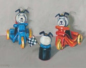 Race Looks like a Tie! A matted print of an original acrylic painting of Fisher Price Little People