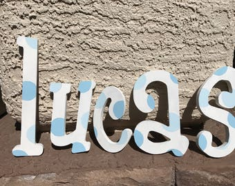 Painted nursery letters, blue polka dot