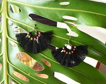 Black Earrings, Fan Earrings, Macrame Earrings, Handmade, Pink and black, brass earrings, Earrings, Handmade Earrings,