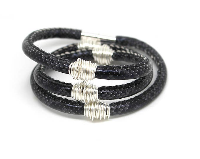 BAS x WFDN tan snake skin bracelet/necklace with wire twist metal details