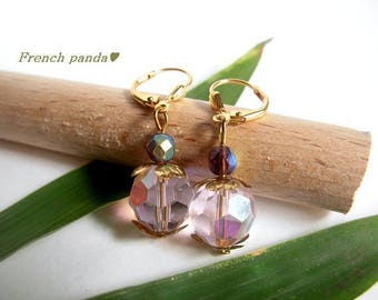 Stud Earrings, gold and pink