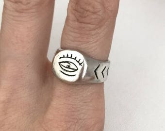 evil eye ring, sterling silver ring, signet ring,  chunky ring,  stacking ring, 925 ring, unique ring, quirky ring, unisex ring, talisman