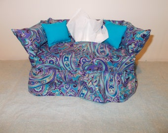 Paisley Swirl with gold Tissue Box Cover