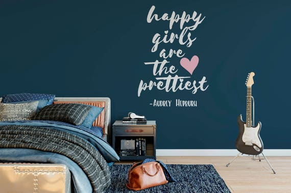 Happy Girls are the Prettiest- AUDREY HEPBURN Vinyl Wall Art Decal