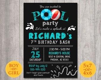 Pool birthday Invitation, Pool Party Invitation, Pool birthday Invite, Pool Party Invite, Chalkboard boy pool invitation, 5th 6th 7th 9th