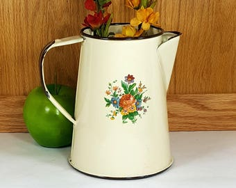 VINTAGE ENAMEL COFFEE Pot Retro Kitchen Decor Farmhouse Rustic Kitchen Enamel Coffeepot Magnolia Decor Shabby Cottage