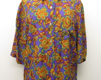 Vintage 1980s Fiorrencci Itali floral Rayon boxy short sleeve button down shirt sz S/M
