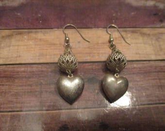 Silver Heart Earrings for Pierced Ears (1980s)