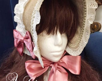 Antique hemp Bonnet victorian Hat