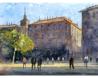 Fine Art Print of Segovia Spain Town Watercolour Painting Signed Cityscape Spain Scene Urban Giclee High Quality Vibrant Impressionist Plaza